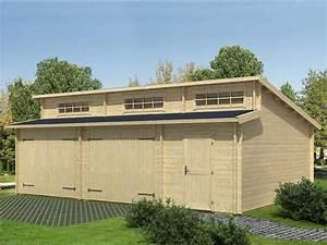 Garage 2 Voitures : garage bois 2 voitures sanna 44mm direct abris ~ Melissatoandfro.com Idées de Décoration