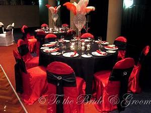 Red black silver table setting