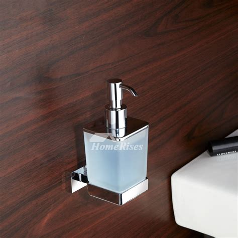 hotel soap dispenser glass brass square shaped wall mount