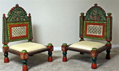 handcarved teak wood  height pidha chairs  pcs