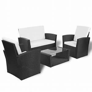 Rattan Lounge Set : vidaxl black outdoor poly rattan lounge set with cushions ~ Orissabook.com Haus und Dekorationen