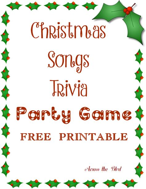Christmas Song Trivia Party Game  Across The Boulevard