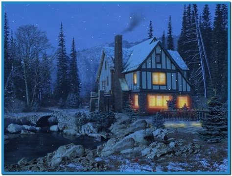 3d Snowy Cottage Animated Wallpaper Windows 7 - snowy cottage screensaver mac free
