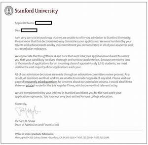 What Does A Stanford Undergrad Admission Rejection Letter