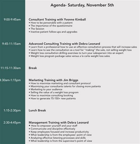 format  training agenda   examples samples