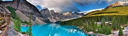 Dual Monitor Lake Moraine Banff Canada National