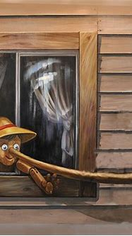 Pinocchio 3D Painting in Oil for Sale