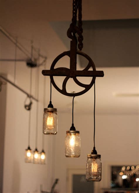 beautiful well pulley l with mason jars rustic