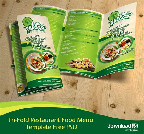 Food Brochure Templates by Tri Fold Restaurant Food Menu Template Free Psd