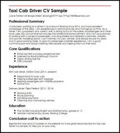 cab driver resume objective taxi cab driver cv sle myperfectcv
