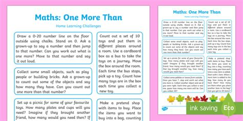 Eyfs Maths One More Than Home Learning Challenges  Eyfs Number