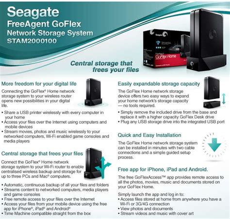 Seagate Freeagent Desktop Power Supply Specs by Seagate Stam2000100 Goflex Home Network Storage System