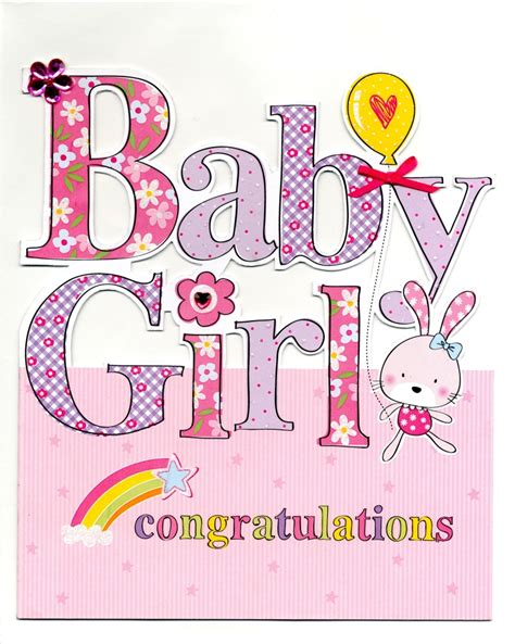 Large New Baby Girl Congratulations Greeting Card 9 x 10
