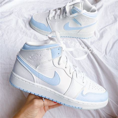 baby blue nike air jordan  mid  custom movement