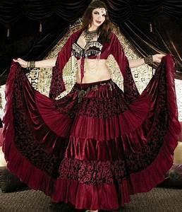 Tribal Gypsy Belly Dance Deluxe 25 yard Velvet Tier Skirt