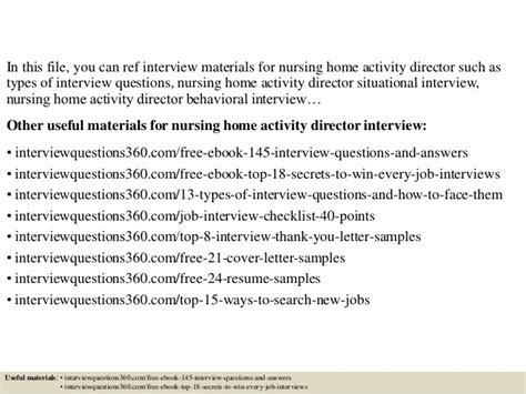 top 10 nursing home activity director questions
