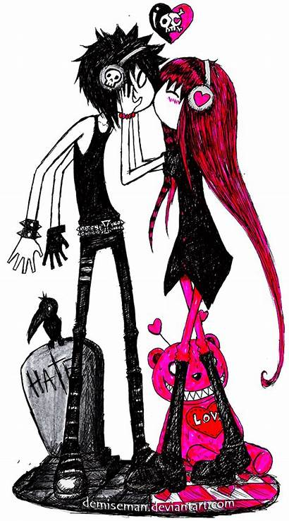Emo Drawings Couple Valentines Clipartmag