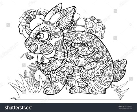 Rabbit Bunny Coloring Book Adults Vector Stock Vector