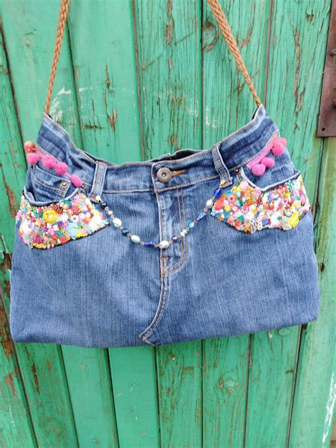 upcycled jeans eco friendly bag purse ladies denim bag hand finished denim decorated