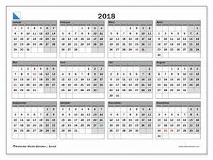 Kalender zum ausdrucken 2018 Feiertage in Zurich Schweiz