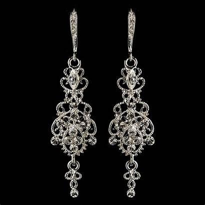 Chandelier Earrings Rhinestone Clear Rhodium