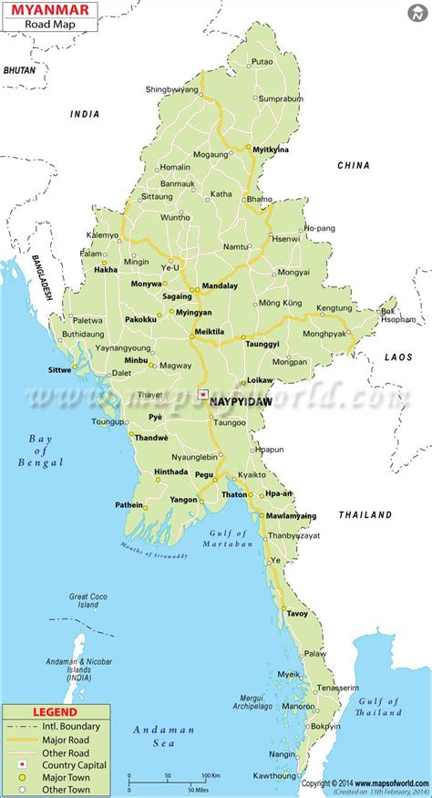 myanmar road map places  visit   greenland map