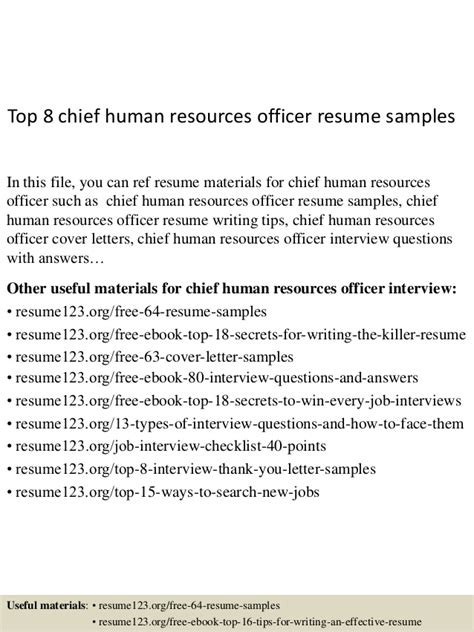 top 8 chief human resources officer resume sles