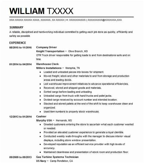Company Resume by Company Driver Resume Sle Driver Resumes Livecareer
