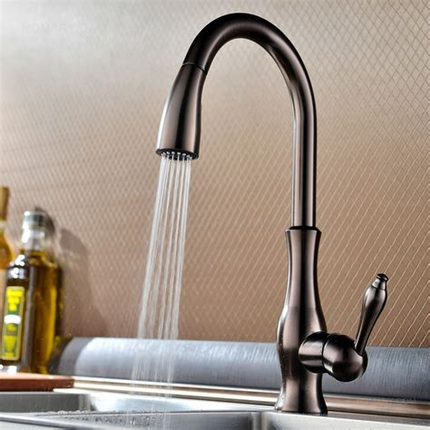 kitchen faucets tracier gooseneck single kitchen faucet with pull out