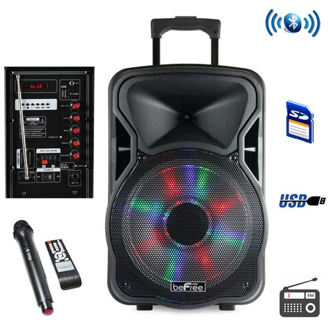 speaker with lights befree sound 97095924m 15 inch bluetooth rechargeable