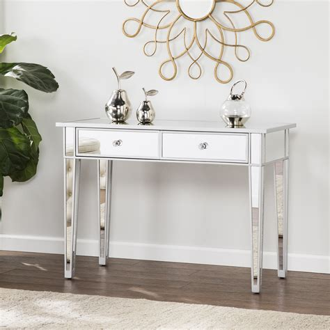 mirror console table mirage mirrored 2 drawer console table