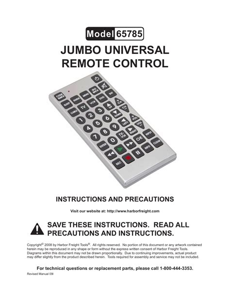 Remote Manual by Harbor Freight Tools Jumbo Universal Remote 65785