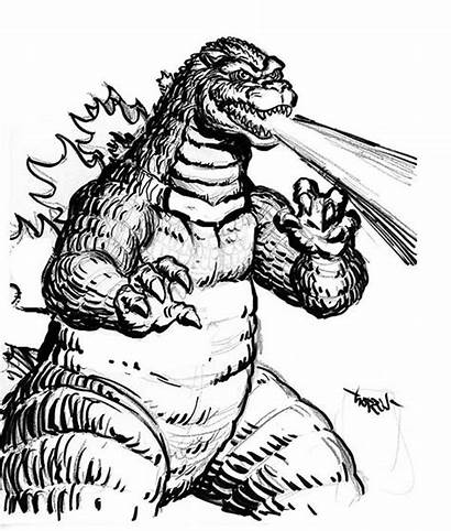 Godzilla Coloring Pages Fire Breath Colouring Burning