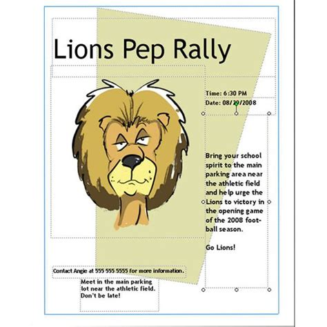 pep rally flyer  microsoft publisher part