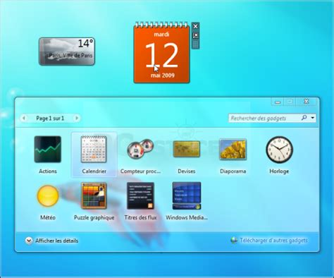 gadgets de bureau windows 7 gratuit pc astuces a la découverte de windows 7