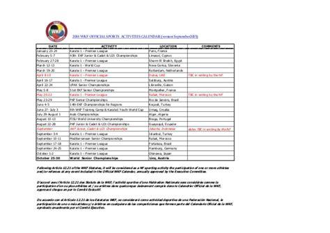 wkf official sports activities calendar version