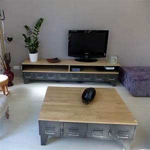Meuble Bois Et Acier : meuble tv m tal industriel tiroirs et niche pour les appareils ~ Teatrodelosmanantiales.com Idées de Décoration