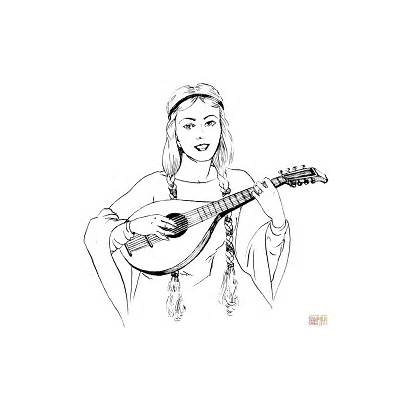 Coloring Pages Woman Playing Lute Braids Drawing