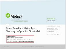 Study Results Utilizing Eye Tracking to Optimize Direct Mail
