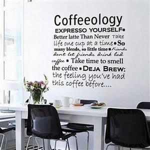 wall decals coffee kitchen office interior decor wall With kitchen colors with white cabinets with motivational wall art for office