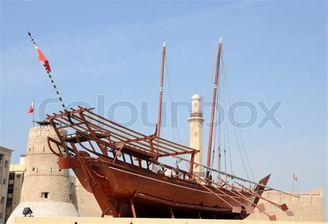 traditional wooden arabic ship  dubai museum united