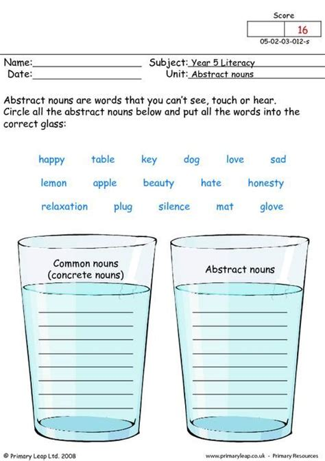 free abstract noun worksheets pictures pronoun free