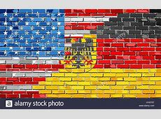 Brick Wall USA and Germany flags Illustration, Mixed