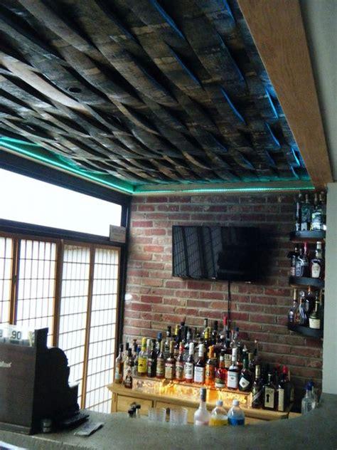 bourbon barrel weave pattern ceiling custom bar