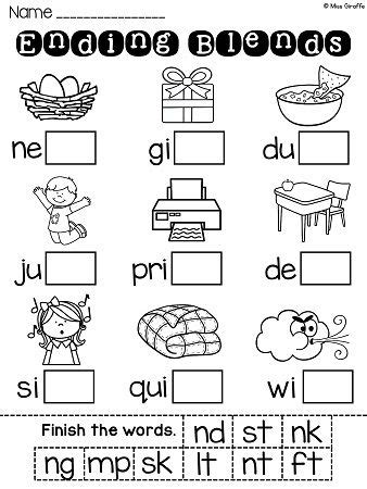 ending blends worksheets and activities tpt language