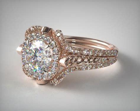 floral embellished pave halo engagement ring 14k rose gold