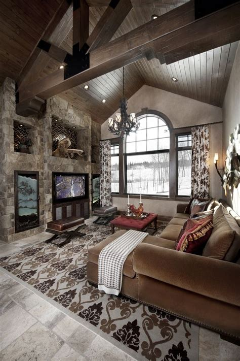 Rustic Great Room With Cathedral Ceiling #greatrooms