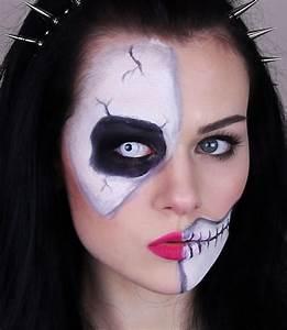 Skeleton, half skull makeup tutorial for Halloween - easy ...