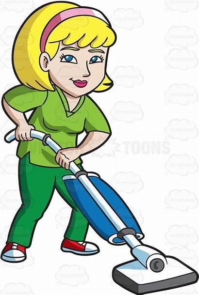 Vacuum Floor Janitor Clean Female Classroom Clip