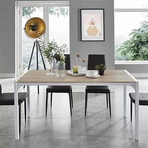 Table à Manger 8 Personnes : brigit table manger de 6 8 personnes style contemporain en m tal laqu blanc et plateau ~ Teatrodelosmanantiales.com Idées de Décoration
